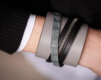 Simple leather bracelet for women Simple women's leather cuff bracelet Womens grey leather bracelet Grey leather cuff bracelet for women