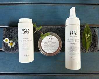 Natural Mum & Baby Pack - Herbal Baby Powder, Natural Foaming Hand + Body Wash and Whipped Body Butter
