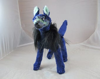Space wolf sleep guardian OOAK art doll