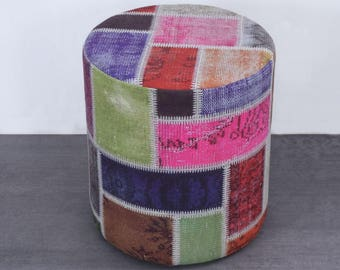 Turkish Drum Ottoman,Upholstery Drum Cylinder Ottoman, Turkish Patchwork Kilim ,Upholstery Fabric, Upholstered Drum Ottoman, 45x45 cm,P51