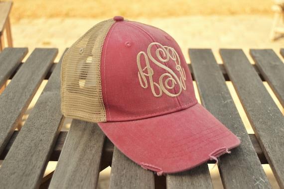 Monogrammed Trucker Hat Monogrammed Baseball Cap Distressed