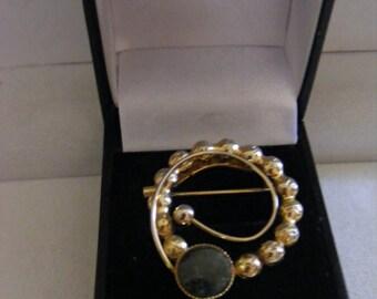 Elegant Art Deco Brooch With Jade Stone