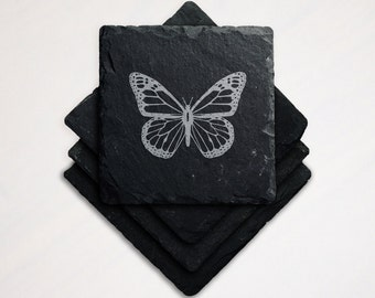 Laser Engraved Slate Coaster Monarch Butterfly Vermont State Insect