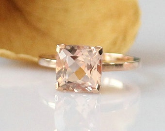 Fantastic!!! 8mm Cushion Cut Morganite Ring Rose Gold Morganite Engagement Ring Diamond Ring Anniversary Ring 14k Rose Gold Wedding Ring