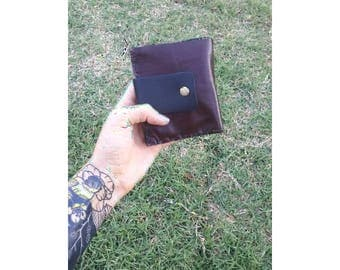 Handmade leather wallet/plum wallet/purple wallet/snap wallet