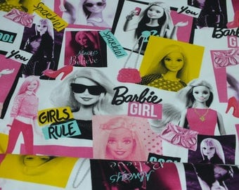 Cotton Jersey Barbie stained Barbie Girl fabric by the metre 0.50 metres