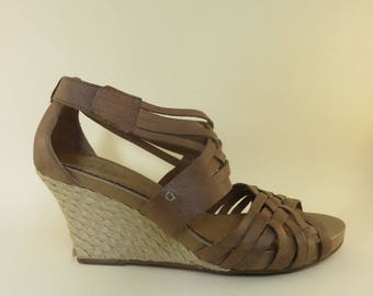 Size 12 Woven Leather Wedge Sandals