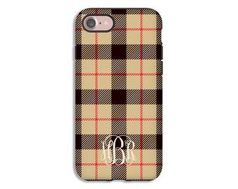 Monogram iPhone 8 case, tartan plaid iPhone 8 Plus case, iPhone 7/7 Plus case, iPhone 6s/6s Plus/6/6 Plus/5s/5 case, tartan plaid phone case