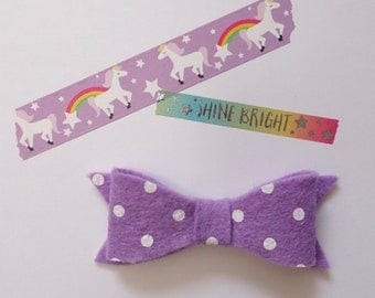 Felt Bow - Purple - Polka Dot