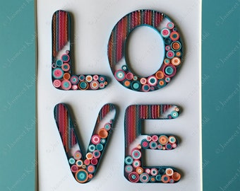 love or home decorative wall art home decor quilling paper art - Blue Wall Decor