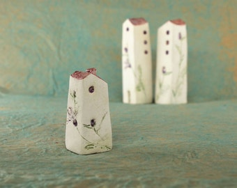 Three little  houses in pottery, little village decorated, artistic houses , home sweety home, gift for her, Italy shop, ornaments for selve