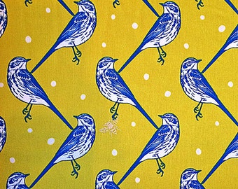 Bluebird Fabric | Sateen | Japanese Import | Gold Metallic | Unique Bird Print | Bumble Bee | Swallows yellow | Polka Dots | Seven Islands