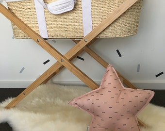 Pink triangle print star cushion
