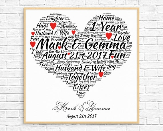 Wedding Anniversary Gifts By Year Uk: Personalized 1ST ANNIVERSARY GIFT Paper Anniversary 1 Year