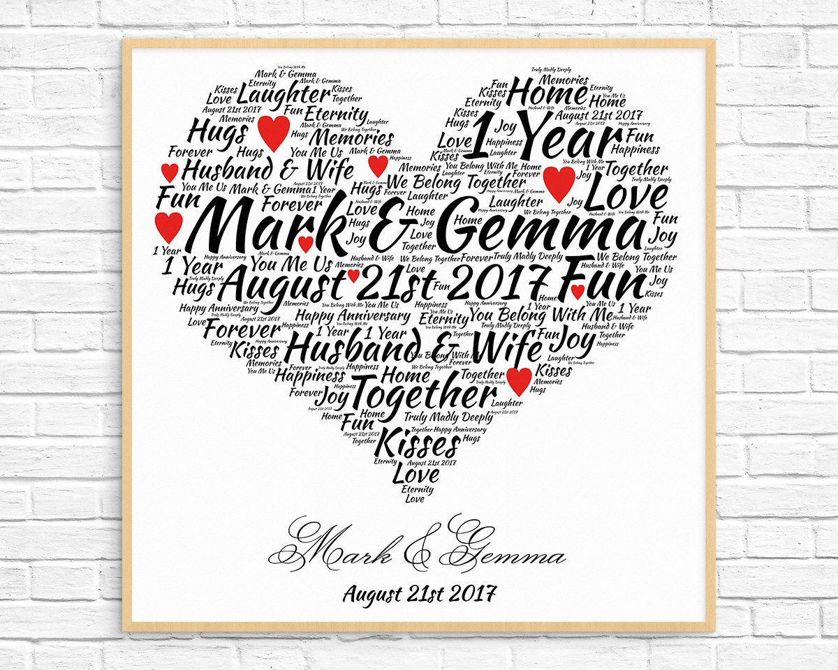 Personalised 1st Wedding Anniversary Gifts: Personalized 1ST ANNIVERSARY GIFT Paper Anniversary 1 Year