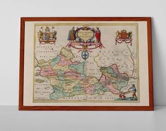 Berkshire Antique Map, Bercheria Vernacule | Fine Art Giclée Reproduction | Old Map of West Berkshire, Reading, Antique Map of  Wokingham