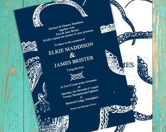 Octopus Wedding Invitations, Nautical Wedding Stationery Set