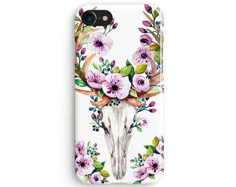 Watercolor floral deer skull - iPhone 7 case, Samsung Galaxy S7 case, iPhone 6, iPhone 7 plus, iPhone SE, iPhone 5S, 1C041A