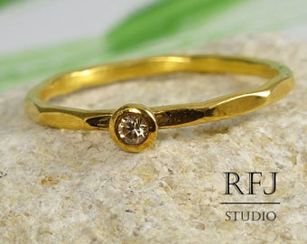 Gold Faceted Lab Cognac Diamond Ring, 24K Yellow Gold Plated 2 mm Cognac Cubic Zirconia Stackable Ring, Diamond Gold Ring, Stack Gold Ring