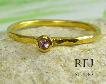Gold Natural Pink Tourmaline Hammered Ring, 24K Yellow Gold Plated 2 mm October Birthstone Round Cut Ring, Stacking Tourmaline Gold Ring