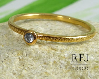 Rose Golden Dainty Textured Lab Aquamarine Ring, 14K Rose Gold Plated March Jewelry 2mm Ligth Blue CZ Gold  Ring Stackable Gemstone Ring
