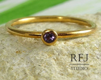 Natural Amethyst Rose Gold  Ring, Stackable February Birthstone Ring, 2 mm Round Cut Purple Amethyst 14K Rose Gold Plated Stacking Ring