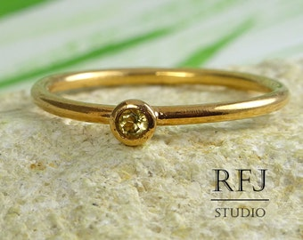 Rose Gold Plated Natural Peridot Ring, August Birthstone Rose Gold Ring, 14 K Gold Plated 2 mm Round Cut Green Genuine Peridot Stacking Ring