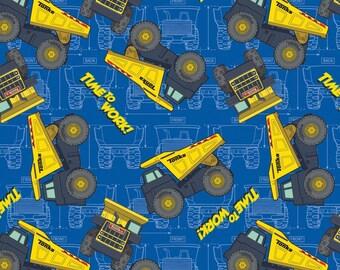 "Tonka Fabric,Cartoon Fabric: Hasbro Tonka Trucks - Time to work  Construction Truck 100% cotton fabric by the Fabric 36""x43"" (G170)"