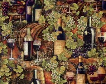 "Wine Fabric, Grape Fabric: Digital Print Mia Sonoma Country Vintage Wine by Springs Creative  100% cotton fabric by the yard 36""x44"" (SC194)"