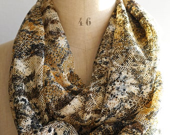 lace fabric scarf, tiger wrap fabric, beige loop scarf, brown circular scarf, tiger print scarf, lace wrap, lace infinity scarf, lace fabric