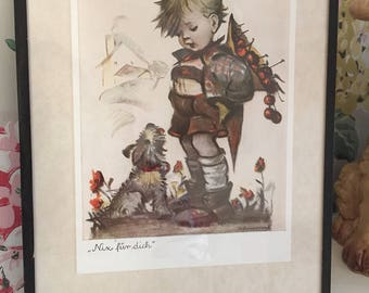 Lovely vintage Hummel framed postcard