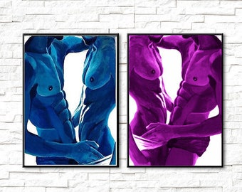 set of two paintings gay art homoerotic fine art HQ print