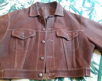 Crust of very brown leather jacket soft