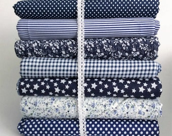 7 Navy Mixed 100% Cotton Fabric Fat Quarter Bundle (Check,Floral, Polka Dot,Strip) Craft Bunting Patchwork Sewing