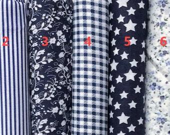 Classical Navy Series 100% Cotton Fabric per fat quarter/ per Half Meter