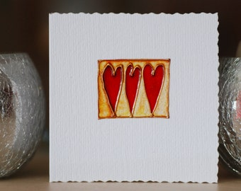 Three Red Hearts - Handmade greetings card