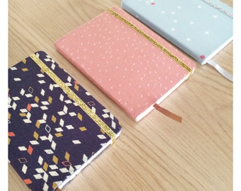 Glittery covered with elastic fabric A6 notebook