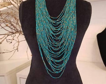 bead necklace, tribal neklace, statement necklace, seed bead necklace, festival necklace, long neckalce