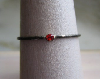 Vintage Silver Tone & Red Orange Cubic Zirconia Ring - Stackable