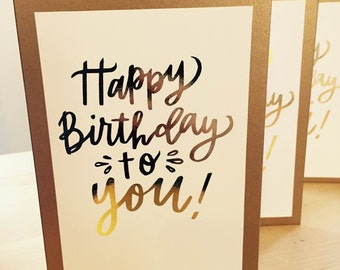 Gold foiled Happy Birthday Card