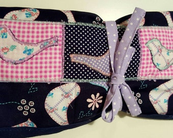 Handmade fabric roll for pencils - artists brush roll - children's pencil roll - Makeup Brush- Makeup pencil storage roll