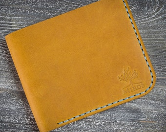 Leather wallet yellow wallet personalized wallet men wallet bifold wallet card wallet engraved wallet mini wallet small wallet card holder