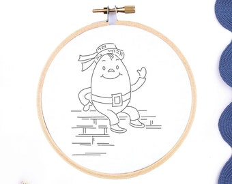 Hand Embroidery Pattern Nursery Rhyme Nursery Decor Vintage Embroidery Design PDF Printable Embroidery Pattern Humpty Dumpty Embroidery PDF