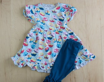 Spring/Summer Riley Print Short Sleeved Ruffle Pearl Dress with matching capris