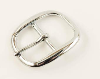 """Center Bar Buckle 1 1/2"""", Chrome Plated Solid Brass"""
