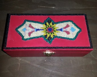 Gift Box, Wood Box, Decorated Wood Box, Beaded Box, Painted Gift Box, Jewelery Box, Trinket Box, Beaded Jewel Box, Hand Beaded Box, Abstract