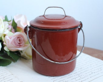 Vintage French Red/Maroon Enamel Lunch Box/Lunch Pail