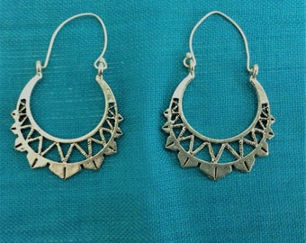 Indian Tribal Earrings, bohemian earrings, ethnic, Silver earrings, gypsy earrings, hoop earrings, Gift for her