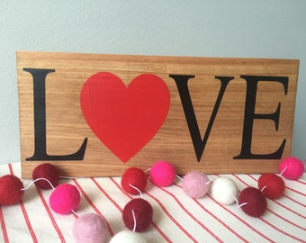 SALE * Love Wooden Plank Sign - Valentine's Sign