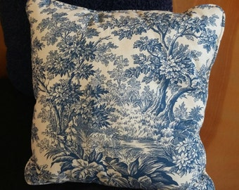 Toile pillow in blue